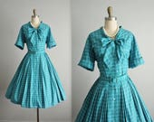 50's Shirtwaist Dress // Vintage 1950's Teal Blue Checked Shirtwaist Full Garden Party Pussy Bow Shirtwaist Dress L