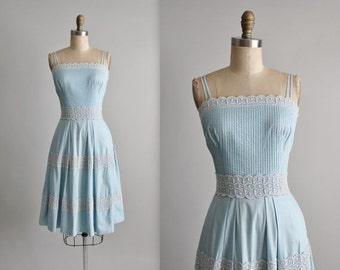 STOREWIDE SALE 50's Dress // Vintage 1950's Baby Blue Cotton Lace Full Garden Party Summer Pinup Dress XS