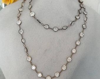 Vintage swarovski  clear crystal  bezel set necklace brass antique finish