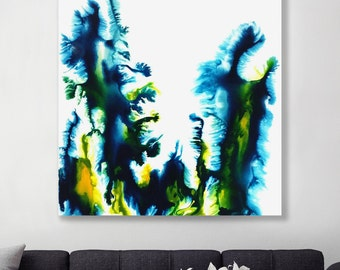 Hexa - Original  High Flow Art Acrylic Painting on Canvas - Abstract Home Decor