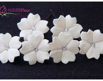 Bridal Hair Pins, Set Of 6 Hair Pins, Wedding Hair Accessory, Bridal Hair Accessories, Cherry Blossom Hair Pins With Swarovsky Crystals