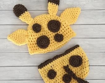 Giraffe hat, diaper cover, giraffe, baby giraffe hat, crochet giraffe hat, giraffe photo prop, newborn giraffe hat, giraffe diaper cover