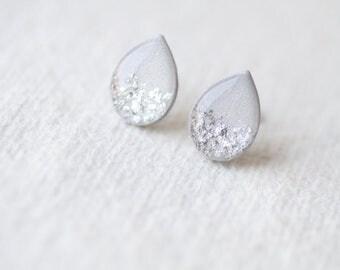 Gray Silver Foil Teardrop Shape Shimmering Stud Earrings BUY 2 GET 1 FREE