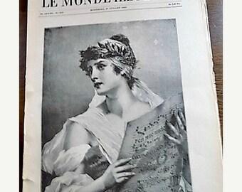 Antique French Newspaper - Montreal - Le Monde Illustre - Art Nouveau covers