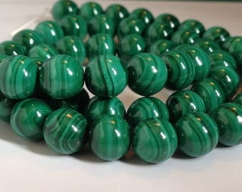"""16"""" Strand of AAA Rated Genuine (Natural) Green With Swirls Malachite Beads (3mm-10mm)"""