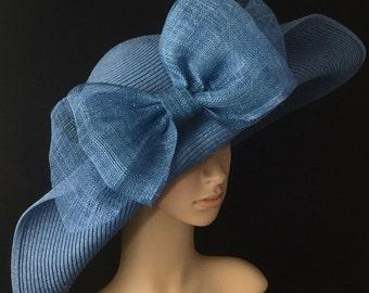 Denim Blue Kentucky Derby Hat with big Sinamay Bow,Derby Hat,Dress Hat Wedding Hat Wide Brim Hat Tea Party Hat Ascot