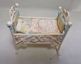 Dolls house Miniature Filled Baby Pink Nursery Cot / Crib in Beatrix Potter Print (blue)
