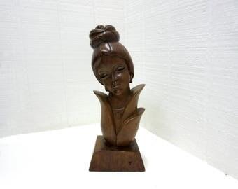 Vintage Wooden Asian Woman Figurine Lotus Flower Woman Carved Statue Figurine