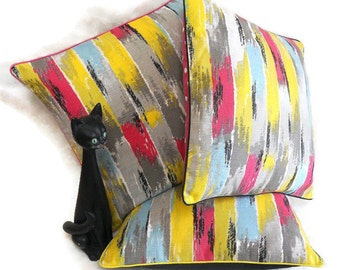 SALE Vintage fabric BARKCLOTH stripe grey, pink, blue and yellow Cushion Pillow Cover