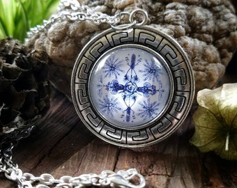 March Nature Mandala Pendant Necklace (silver finish)