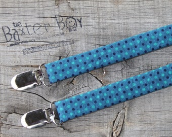 Teal suspenders with navy & turquoise polka dots - little boy suspenders, ring bearer, photo prop, wedding