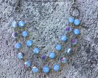 Double strand dusty blue necklace