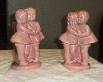 Vintage Pink Stoneware Boy and Girl Vase