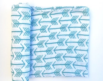 Muslin Swaddle Blanket- TEAL ARROWS- boy swaddle blanket- baby blanket- receiving blanket- arrow swaddle- girl swaddle blanket- newborn wrap