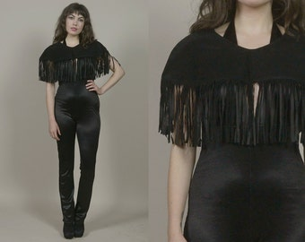 Black Fringe Cape Suede 1970s Glam Shrug 70s Rock N Roll Lace Up Bolero / OS One Size Fits Most