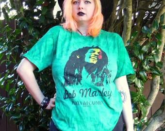 Vtg Forrest Green Tie Dye Bob Marley Playa del Carmen Mexico Tour Tshirt L