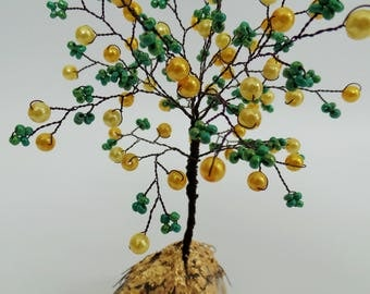 Yellow pearls  tree, ,pearls  wire tree, wire tree sculpture  ,yellow and green , bonsai tree, tree of life   , desk decor, mothers day gift