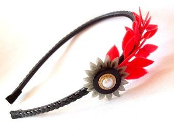 Greek Inspired Red Laurel Headband with Kanzashi Flower Fusion Headdress