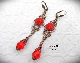 Siam Red Flower Victorian Earrings, Long Dangle Earrings, Filigree Earrings, Victorian Jewelry