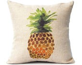 Watercolor Pineapple Pillow Cover - Tropical Decor - Hawaiian Decoration - Faux Burlap Pillow Cover with Zipper - 16 x 16 - Gold and Green