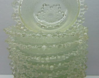 Vintage  Glass Dessert Dishes, Japanese Aderia, Bubble Lace Edged Berry Bowls, Set of 10