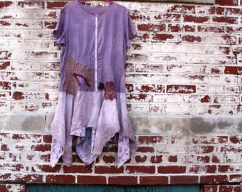The Gift's Winter Dress /Tunic /Eco/Large /Rustic/Upcycled/Boho/ Country living / Cottage Chic #12