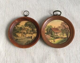 Vintage farm plaques  tiny round farm plaques