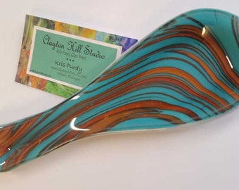 Fused Glass Spoon Rest - Southwest XV