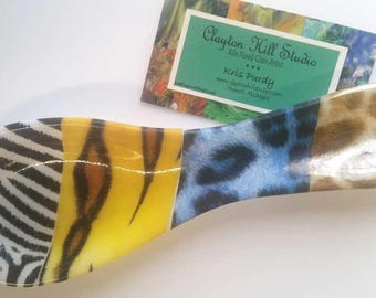 Fused Glass Spoon Rest - Wild Safari
