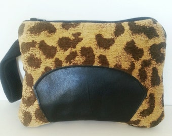 Leopard Animal Print Upholstery Fabric Clutch, Black Leather Wristlet, Clutch Purse