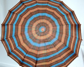 Vintage 1940s Art Deco Brown Blue Plaid Silk Umbrella With Faux Tortoise Shell Lucite or Bakelite Handle