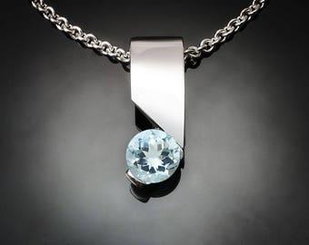 aquamarine necklace, aqua pendant, March birthday, Argentium silver, light blue, delicate necklace, artisan jewelry, silver pendant - 3460