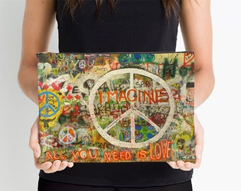 The Beatles Art Studio Bag, All You Need is Love, John Lennon, Peace Sign, Imagine