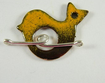 Brown and Orange  Bird Enameled Toggle Clasp with Argentium Sterling Silver Wire Toggle Bar