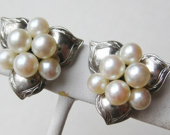 Vintage 50s Japanese Mikimoto Style Genuine Akoya Pearl Cluster Caribe 950 Sterling Silver Earrings