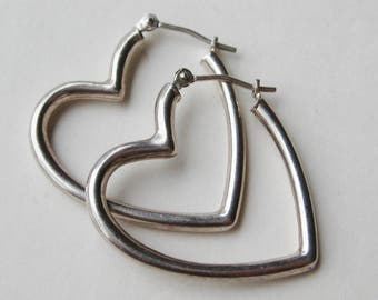 Vintage Sterling Silver Heart Shaped Hollow Hoop Pierced Dangle Earrings