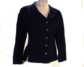 Size 8 50s Suit Jacket - 1950s Navy Silk Blazer with Beautiful Metal Buttons - Dark Blue Tailored Jacket - Classic Beauty - Bust 35 - 48800