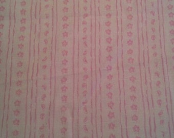 Tiny Moons and Stars Pink and White Striped Cotton fabric 4 3/4 Yards X0697