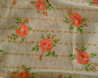 Orange Floral Print on Yellow Cotton Flannel Fabric 2 Yards  X0799