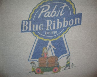 Vintage Pabst Blue Ribbon Beer drinking funny Punk Rock T Shirt S