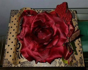 Happy Birthday - 3D Red Rose Greeting Card Crafted by Hand - sheshefoofoocards