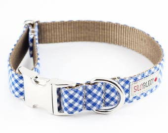 Royal Blue Gingham Dog Collar