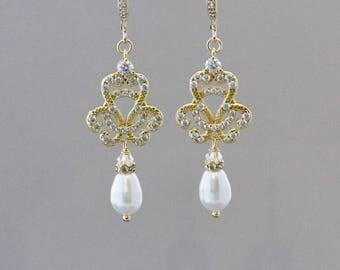 Gold Vintage Wedding Earrings, Gold Pearl Drop Earring, Bridal Earrings, Rose Gold, Gold & Rhodium Earring Options,  CELINE FH