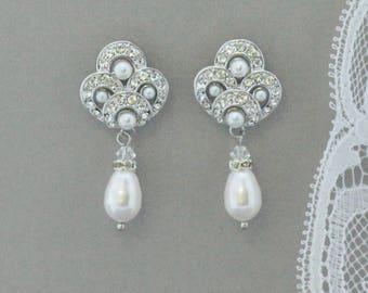 Pearl Drop Earrings, Deco Wedding Earrings, Pearl Bridal Earrings,  Ivory Pearl Earrings, Bridesmaid Earrings, MONIQUE