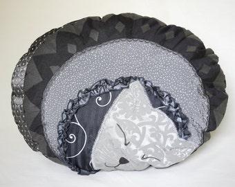 Pillow Cat Chatounet Unique Fiber Art pillow sleeping kitten Oval shape Black Grey Patchwork