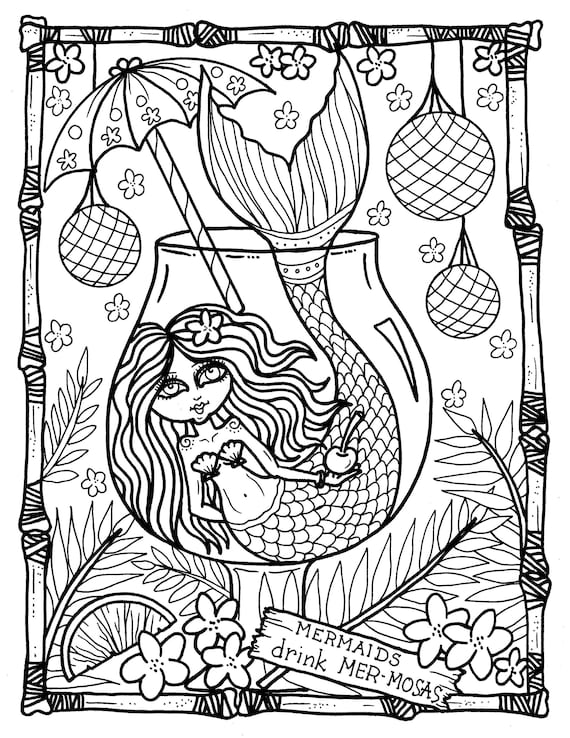 tails from the tiki bar mermaids coloring book hawaii coloring adults whimsical whales dolphins mermaid ocean palm trees hula shells - Hawaii Coloring Book