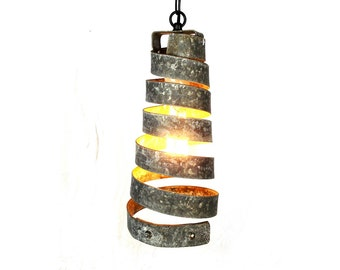"CORBA - ""Copula"" - Pendant Light Wine Barrel Ring Light  - 100% Recycled"
