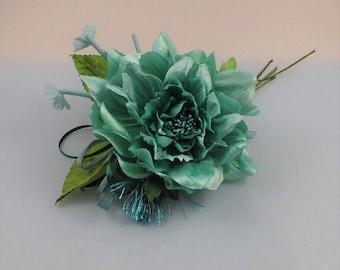 Millinery Flower/leaves/tassel bundle - Tiffany blue