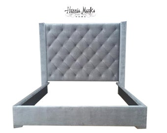 Tufted Tall Bed Wingback Silver Gray Velvet Deep Diamond Tufting Tempurpedic Bed Frame Pick Your Fabric and Height BY CUSTOM ORDER