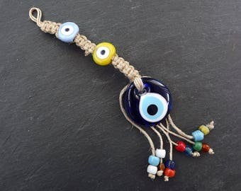 Fun Multicolor Turkish Evil Eye Wall Hanging Home Garden Decoration with Pale Blue and Yellow Evileye Traditional Artisan Beads - No:1